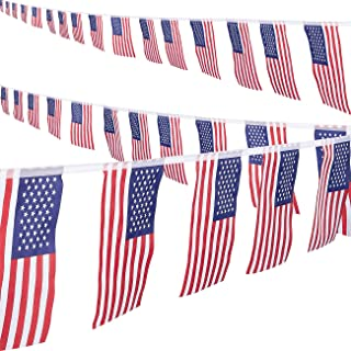 Juvale American Pennant Flag Banner - 2-Piece Patriotic Bunting Flag String for 4th of July, Memorial Day, Veteran's Day, Labor Day Decoration, 8.6-Yard Each