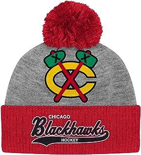 Mitchell & Ness Chicago Blackhawks Heather Tailsweep Cuffed Pom Knit Beanie Hat/Cap