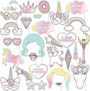 2e85a2e328 thematys® Cumpleaños de niña Unicornio Decoración Cuadro de Fotos - Photo  Booth Accesorios - Imágenes