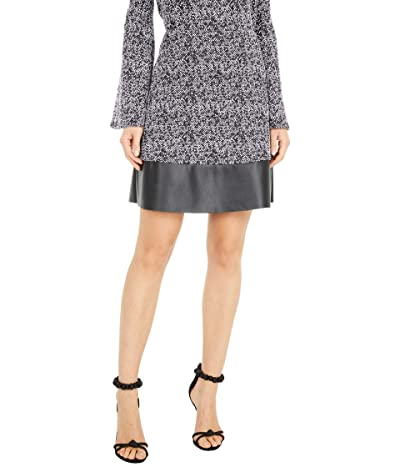 MICHAEL Michael Kors Tweed Leather Mini Skirt (Black/White) Women
