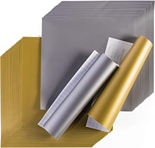 "Cricut Premium Vinyl - Removable, 12"" x 12"" Adhesive Decal Sheets - Gold & Silver"