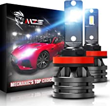 MZS Mini H11 LED Headlight Bulbs,10000LM 6500K Cool White CREE Chips H8 H9 All-in-One Conversion Kit w/360 Degree Adjustable Beam