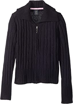 Full Zip Cable knit Sweater (Little Kids)