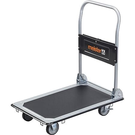 Meister 8985530 - Carrello con piattaforma, 150 kg, professionale, pieghevole, Nero, Metallo
