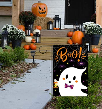 Halloween Garden Flag - Halloween Flag Double Sided Spooky Ghost Welcome Flag Garden Yard Flag Outdoor Indoor Home Decor 12 x