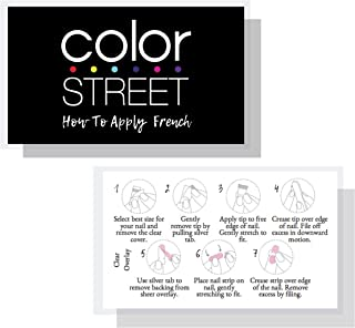 Color Street French Application Cards | How To Apply Nail Polish Strips | 50 Pack | Business Cards 3.5 x 2