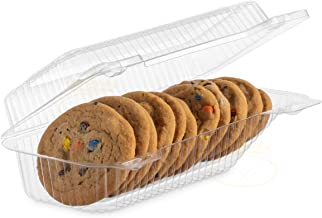 "[25 PACK] OccasionWise Clear Plastic Cookie Container with Hinged Lid and Slant - Cookie boxes for gift giving (Inside 9""x..."