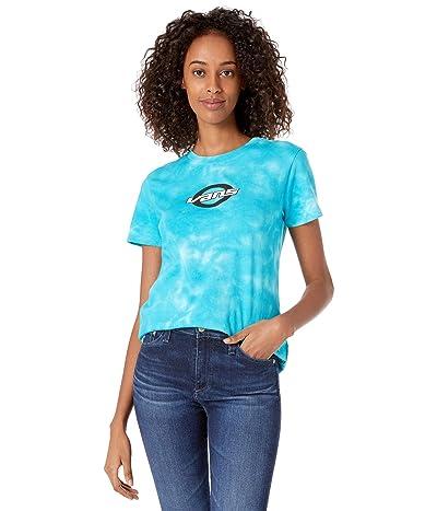 Vans Oval Teen Wash Short Sleeve Tee (White/Enamel Blue) Women