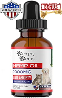 HempyPaws Hemp Oil for Dogs & Cats - 1000mg - Anxiety & Pain Relief Pet Hemp Oil Made in USA – All Natural Hemp Extract Oil for Pets - Non-GMO, Organic,Supports Joint Health - Chew Toy