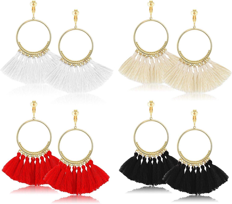 YADOCA 4Pairs Tassel Earrings for Women Dangle Clip On Earrings Tiered Statement Hoop Fringe Earrings Silk Tassel Clip Earrings Bohemian