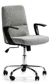 VS Venta-stock Sillón de Oficina elevable y reclinable Teo tapizado con Tela, Color Gris Claro, Metal Cromado