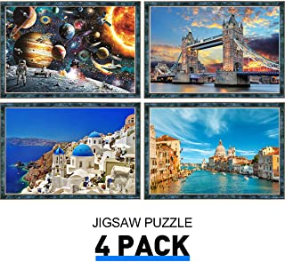 Jigsaw Puzzles 1000 Pieces for Adults Pickwoo 4Pack Puzzle 1000 Piece for Kid and Adults Large Landscape Puzzle Game, Kids Early Educational Interesting Toys Personalized Art Gift (001)