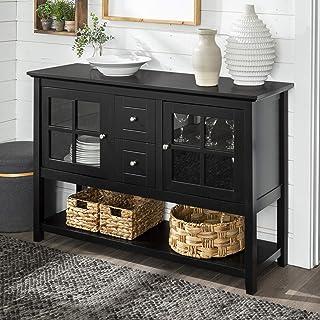 Walker Edison Furniture Rustic Farmhouse Wood Buffet Storage Cabinet Living Room, 52 Inch, Black