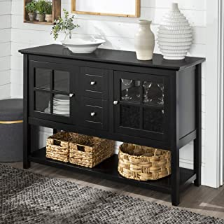 WE Furniture Rustic Farmhouse Wood Buffet Storage Cabinet Living Room, 52 Inch, Black