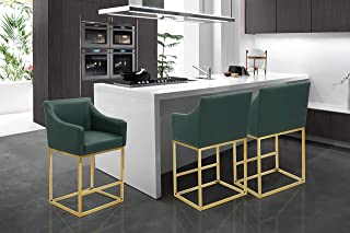 Iconic Home Bluebell Counter Stool Chair PU Leather Upholstered Slope Arm Design Architectural Goldtone Solid Metal Base Modern Contemporary, Green