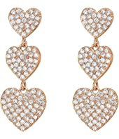 Kate Spade New York - Yours Truly Pave Heart Triple Drop Earrings