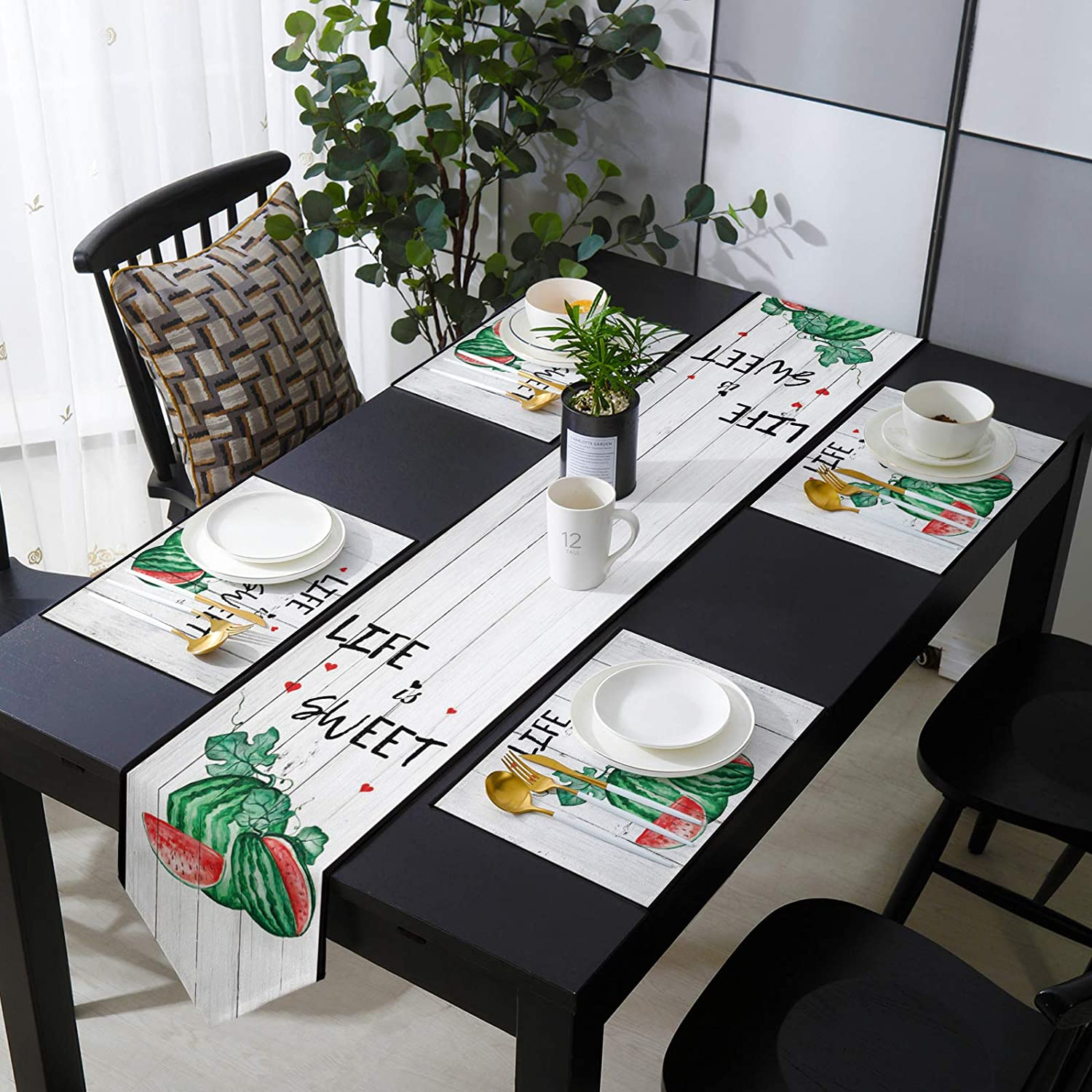 Placemats with Table Runner Set Sale special price Life Outstanding Watercolor Summer Sweet is
