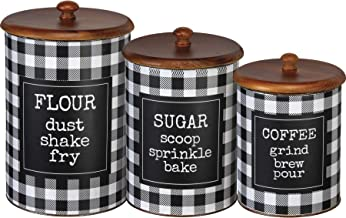 Primitives by Kathy Buffalo Check Canister Set: Flour Sugar Coffee Set of 3, Black/White