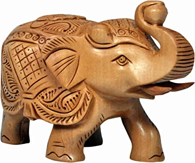 Craft Trade Wooden Showpiece Beautiful Elephant Up Trunk Hand Crafted Artistic Home Office Decor Article