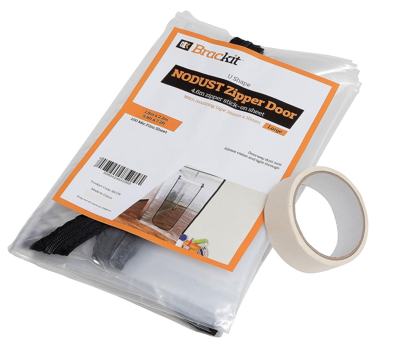 U Shape Zipper Door dust Sheet with pre-Assembled 4m Zipper. 180cm x 220cm. with Masking Tape 36mm x 10m