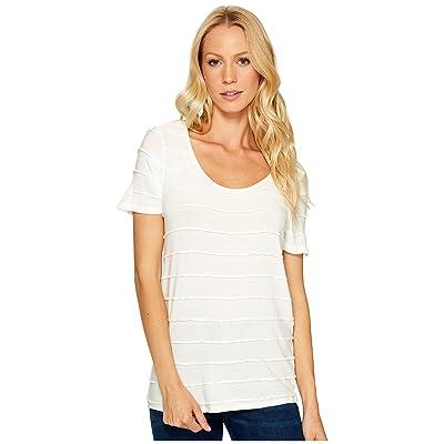 Three Dots Pintuck Jersey Short Sleeve Tee (White) Women