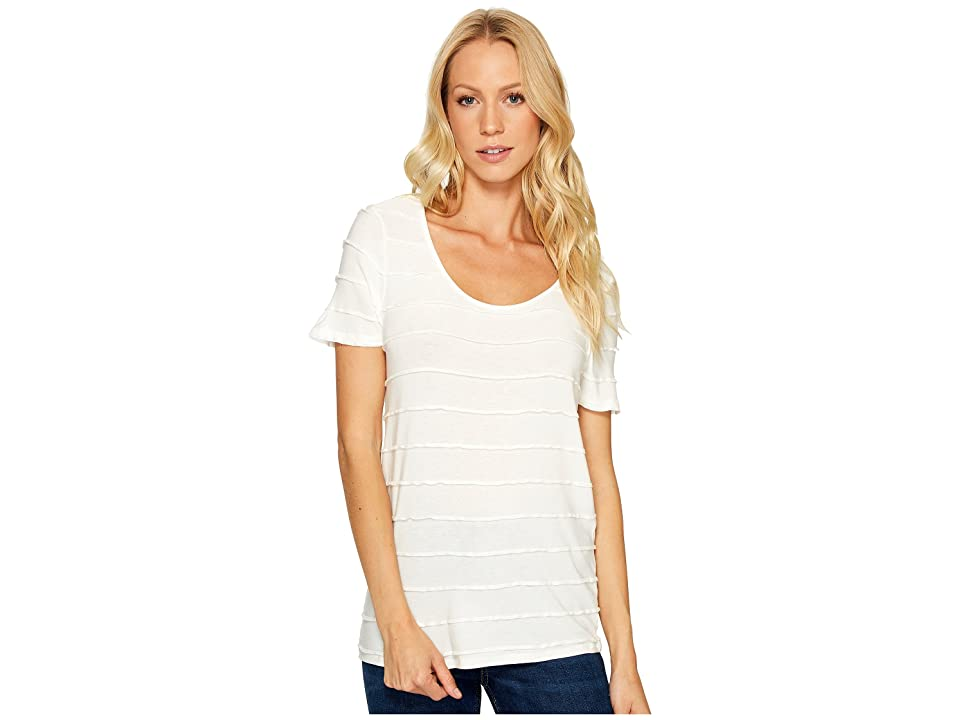 Three Dots Pintuck Jersey Short Sleeve Tee (White) Women