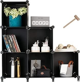 Homeries Cube Storage System (6 Cubes) – Modular DIY 6-Cube Plastic Closet Organizer Rack, Storage Shelves, Bookshelf, Bookcase for Bedroom, Office, Dorm Room, College, Living Room - Black