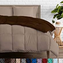 Bare Home Reversible Comforter - Twin/Twin Extra Long - Goose Down Alternative - Ultra-Soft - Premium 1800 Series - Hypoallergenic - All Season Breathable Warmth (Twin/Twin XL, Cocoa/Taupe)