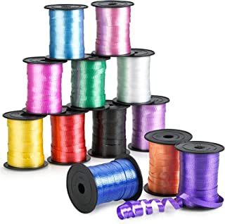 Kicko Curling Ribbon - Colorful Assorted - 12 Pack - for Florist, Flowers, Arts and Crafts, Wrapping, Hair, School, Girls, Etc