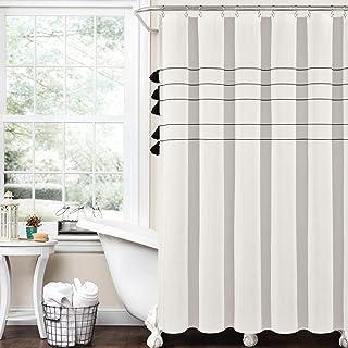 "Lush Decor Farmhouse Boho Stripe Woven Tassel Yarn Dyed Cotton Shower Curtain, 72"" x 72"", Ivory"
