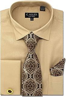 C. Allen Men's Solid Micro Pattern Regular Fit Dress Shirts with Tie Hanky Cufflinks Combo