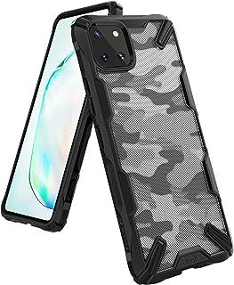 جراب Ringke Fusion-X متوافق مع هاتف Galaxy Note 10 Lite (2020)، تصميم مموه خلفي متين مقاوم للصدمات من مادة TPU - أسود مموه
