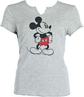 Disney Mickey Mouse Old School Pajama Top Tee T Shirt Junior Girls Gray Black
