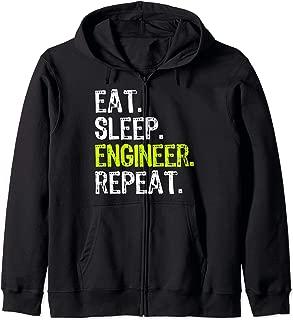 Eat Sleep Engineer Engineering Funny Student Teacher Gift Zip Hoodie