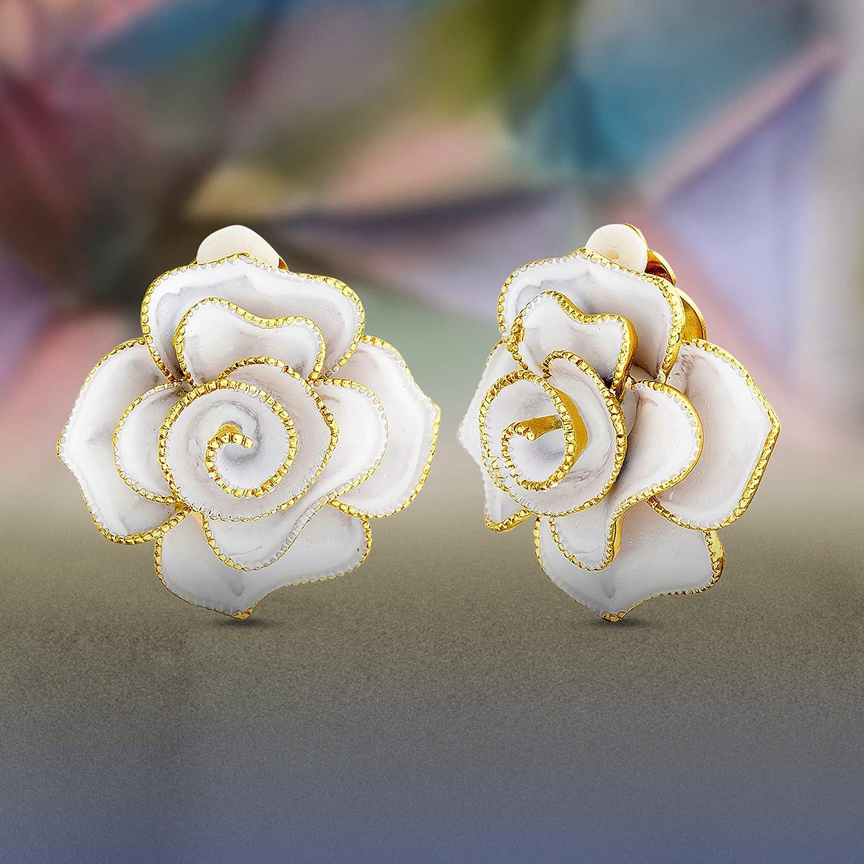 Badgley Mischka White Enamel Rose Flower Clip On Stud Earrings for Women