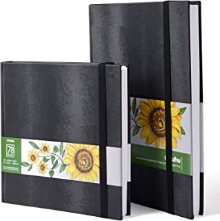 """Ohuhu Marker Pads Art Sketchbooks, 2-pack 8.3""""×8.3""""& 8.3""""×11.7"""", 120 LB/200GSM Smooth Drawing Papers, Each Size Holds 78 S..."""