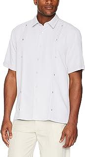 Cubavera Men's Short Sleeve Cuban Camp Shirt with Contrast Insert Panels