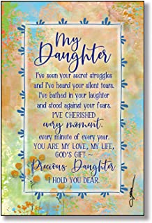 Daughter Wood Plaque with Inspiring Quotes 6x9 - Classic Colorful Vertical Frame Wall & Tabletop Decoration | Easel & Hang...