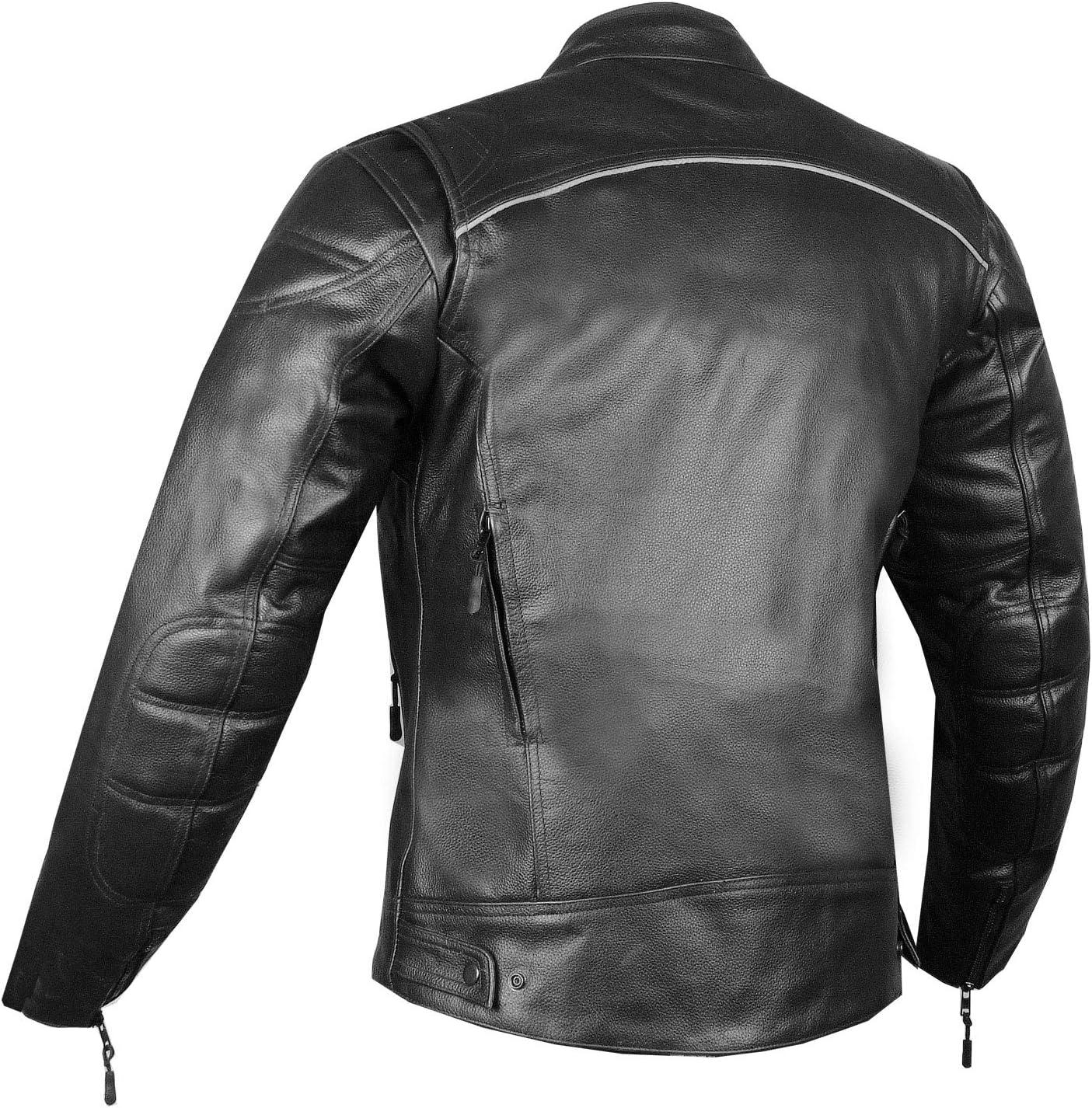 RETRO Mens Natural Buffalo Leather Motorcycle Street Cruiser Biker Jacket M