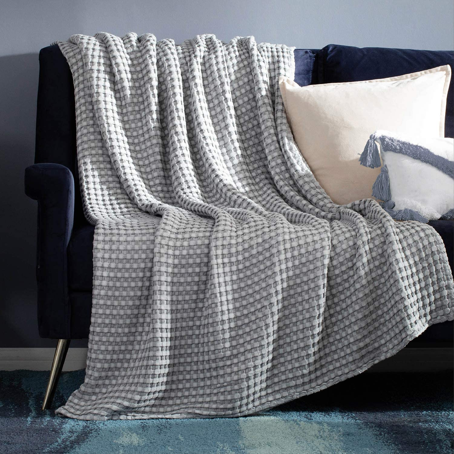 Bedsure 50% Cotton 50% Bamboo Blanket, Waffle Weave Throw Blanket for Couch Sofa, Soft Decorative Lightweight Blanket for All Seasons(Throw Size, 50