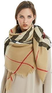 Women's Plaid Blanket Winter Scarf Warm Wrap Oversized Shawl Cape