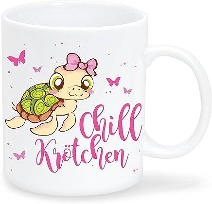 """Preisvergleich für Wandtattoo-Loft Bedruckte Keramiktasse """"Chill Krötchen"""" mit einem niedlichen Schildkröten Mädchen/beidseitig/Tasse/Becher/Spülmaschinenfest/Kaffeetasse mit Motiv und Spruch"""