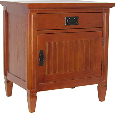 Benjara Drawer Night Stand with 1 Storage Cabinet and Mission Bale Pulls, Brown