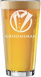 My Personal Memories Pint Glasses for Bachelor Party, Weddings, Wedding Favors, Beer Gifts (Tuxedo Style 16oz, Groomsman Glass)