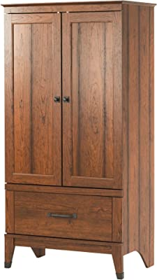 Child Bedroom Armoire in Rich Cherry Finish, MDF, Country Styling with Craftsman Era Hardware, Closet Space, Deep Drawer, Unique, Sleek and Stylish, Attractive and Versatile, Sturdy and Durable