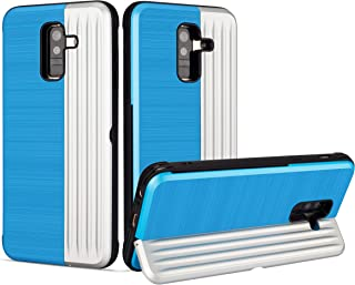 Ostop Back Wallet Case for Samsung Galaxy A6 2018,Hard PC Rugged Phone Case with Card Slot Holder Kickstand,Hybrid Soft TPU Silicone Bumper Ultra Thin Slim Shockproof Protective Cover,Blue