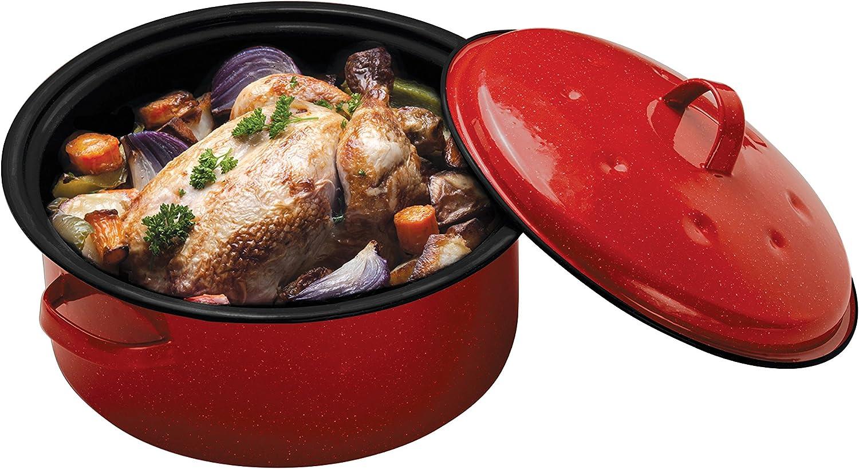 Premier Housewares Rond à rôtir en émail, Carbon, 28x 30x 17cm, Fibre de Carbone, Red, 28 x 30 x 17 cm Red