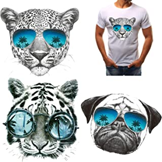 3Pcs Iron On Stickers Tiger Stickers Leopard Dog Iron On Applique Sunglasses Animal Iron On Transfer for Jackets T-Shirts Cowboys Ironing