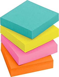 Post-it Super Sticky Notes, Bright Neons, Sticks and Resticks, 67% Plant-Based Adhesive by Weight, 1 7/8 in. x 1 7/8 in, 8 Pads/Pack, (622-8SSMIA)