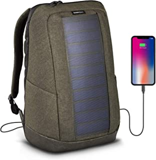 Sunnybag ICONIC solar backpack in olive brown | 7 Watt solar panel | Charge all Smartphones and portable USB devices | 20L volume